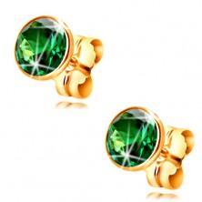 585 gold stud earrings - emerald green circular zircon in a mount, 5 mm