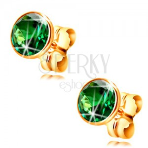 585 gold stud earrings - emerald green circular zircon in a mount, 5 mm