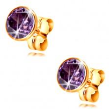 14K gold earrings - dark-purple circular zircon in a mount, 5 mm