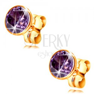 14K gold earrings - dark-purple circular zircon in a mount, 5 mm