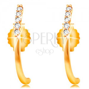 14K yellow gold earrings - shiny curved line decorated with clear zircons