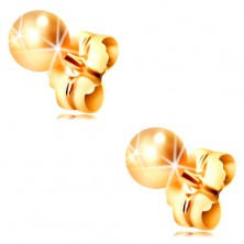 14K yellow gold earrings - smooth shiny balls, 4 mm