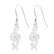 925 silver earrings - violin clef decorated with clear zircons