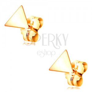 585 yellow gold earrings - shiny smooth triangles, stud fastening
