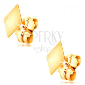 14K yellow gold stud earrings - flat smooth rhombus, high shine