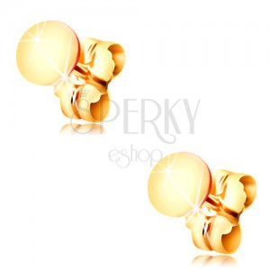 14K yellow gold earrings - shiny flat circle, stud fastening