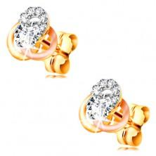 14K gold earrings - three-coloured hoop knot, circular clear zircons