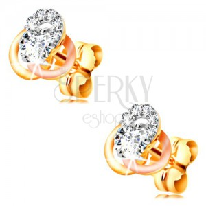 14K gold earrings - three-coloured hoop knot, circular clear zircons
