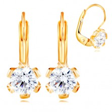 14K yellow gold earrings - flower with clear zircon in the middle, 5 mm