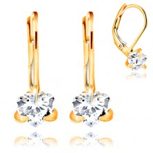 585 yellow gold earrings - sparkly heart in clear colour, 6 mm