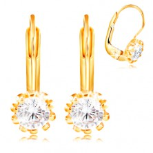 14K yellow gold earrings - clear zircon densely rimmed with prongs, 4 mm