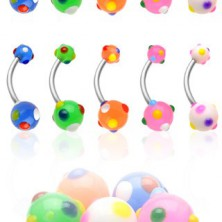 Navel ring with colorful dots