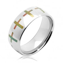 Stainless steel silver wedding band, coloured crosses around the perimeter, 8 mm