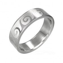 316L steel silver ring, shiny curves on a matte surface, 6 mm