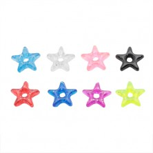 Pendant for a piercing - coloured acrylic star with glitters