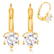 14K yellow gold earrings - round clear zircon in mount with six prongs, 5,5 mm