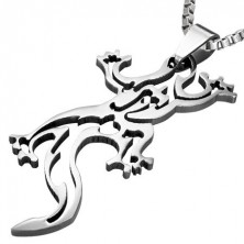 Stainless steel pendant - lizard silhouette