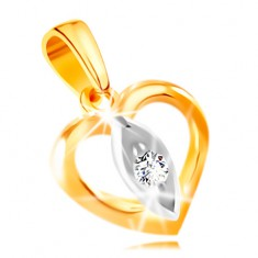 14K gold pendant - heart contour, grain with a clear zircon in the middle