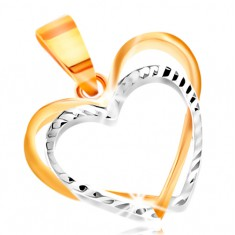 14K gold pendant - two thin heart contours of yellow and white gold, indents