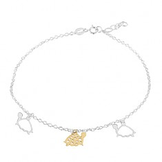 925 silver anklet, three turtles in gold and silver colour