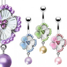 Belly ring with zircons and bead