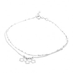 925 silver double chain anklet, three flowers and balls