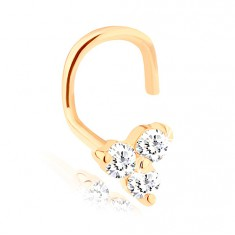 14K yellow gold curved nose piercing - three sparkly clear brilliants