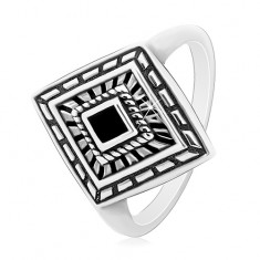 925 silver ring, patinated rhombus with black glaze in the middle
