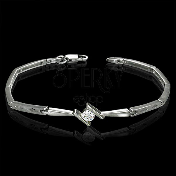 Ladies bracelet - tension set zircon and diamond shapes