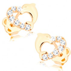 585 gold brilliant earrings - heart contour with a diamond line and a dolphine