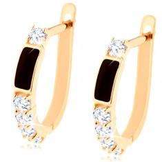 585 gold brilliant earrings - black rectangle, clear circular diamonds