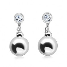 925 silver earrings, circular clear zircon with a dangling ball