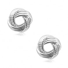 925 silver earrings, shiny knot with ribbed lines, studs