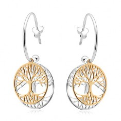 925 silver two-coloured earrings, incomplete circle, life tree in a band