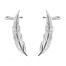 925 silver earrings crawler - thin shiny engraved leaf, studs and hooks