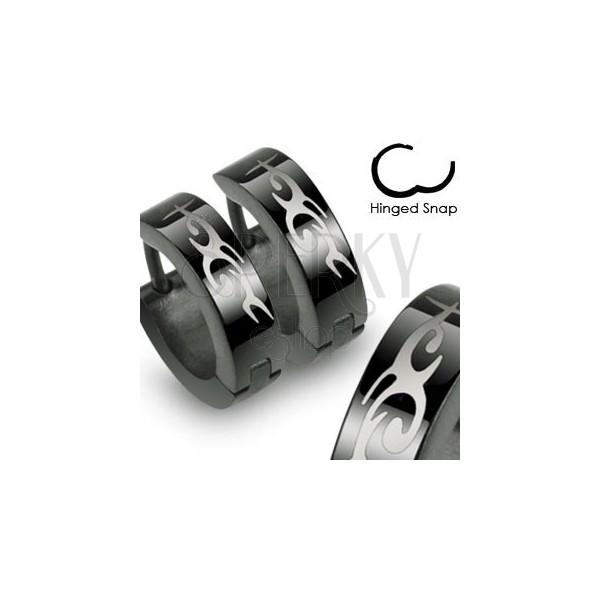 Steel black earrings with hinged snap fastening, Tribal motif