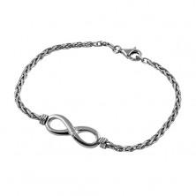 925 silver bracelet of dark-grey colour, shiny INFINITY symbol