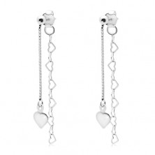 925 silver earrings, square and heart chain, flat heart