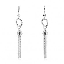 Dangling earrings, 925 silver - band with a chain tassel, hooks
