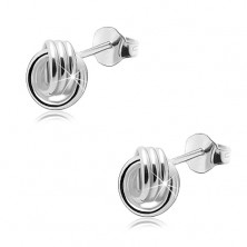 925 silver earrings, shiny knot - interconnected triple bands, studs