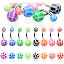Ball belly button ring - colorful dots