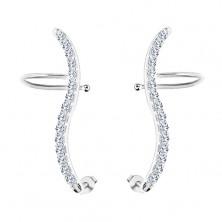 925 silver earrings - clear zircon wave, studs and hooks