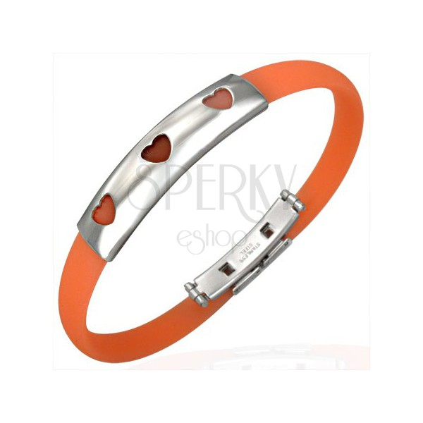Rubber bangle in orange colour – steel plate with three cut-out hearts