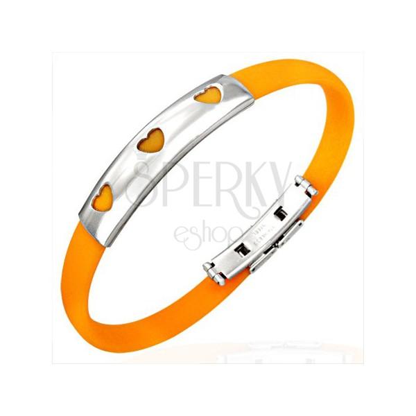 Rubber bangle with three hearts - orange