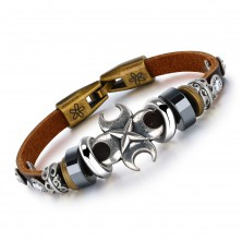 Bracelet of brown synthetic leather, cross, clear zircons and beads