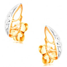 14K gold earrings - two-coloured leaf decorated with clear zircons