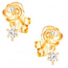 Earrings made of yellow 14K gold, rose flower with clear zircons, studs