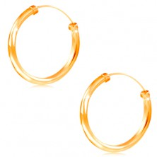 Earrings made of yellow 14K gold - circles with shiny smooth surface, 20 mm