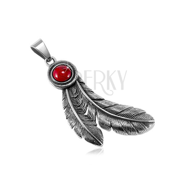 3060212e37a Steel patinated pendant, circular red stone and Indian feathers ...