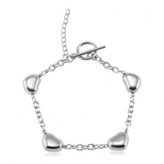 316L steel bracelet, four shiny rounded hearts, silver colour